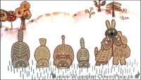 El-ahrairah und die Tiere beim friedlichen Grasfressen